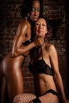 Tia Ling and an ebony friend make hot lesbian love