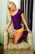 Aaliyah Love cute blonde strips off her purple top from Aaliyah Love