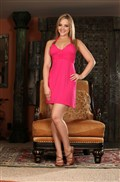 Alexis Texas takes off her cute long pink dress from Aziani