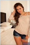 Allie Haze gets banged on the bed in her white panties from Naughty America
