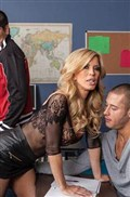 Amber Lynn rides her student in crotchless body stocking