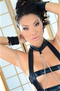 Asa Akira gets banged in black bondage dress and stockings from evilangel