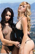 Brett Rossi and Breanne Benson make out in the garden from Penthouse