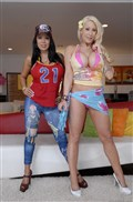 Candy Manson and Sienna West flash their tits and twats from evilangel