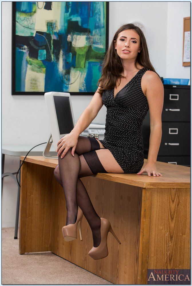 Casey Calvert gets fucked on her desk in black stockings Main Image