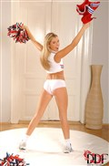 Cherry Jul looks cute in a cheerleading outfit with pompoms from DDF Prod