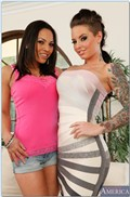 Christy Mack and Adrianna Luna share cock on the couch from Naughty America
