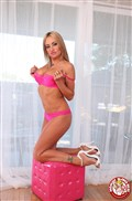 Claudia Valentine gives a hot pov blowjob in pink lingerie