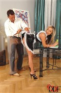 Daria Glover naughty housekeeper gives a sloppy blowjob from DDF Prod