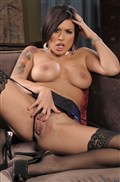 Eva Angelina rides a hard dick in purple dress and stockings