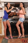 Gina Devine and Mia Manarote get dirty baking in the kitchen from DDF Prod