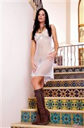 India Summers spreads pussy in a white knit dress Picture 01