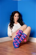 Jayden Jaymes strips off her pink panties in cute socks from Brand Danger