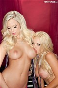 Jesse Jane and BiBi Jones fool around in sexy pink lingerie from Penthouse