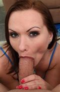 Katja Kassin blows huge cock in a cute blue top from My XXX Pass