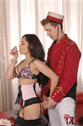Kristall Rush pleasures two cocks in black stockings Picture 05