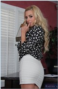 Petite babe Lexi Belle rides a thick dick in her home office from Naughty America