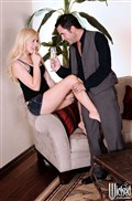 Lexi Belle fucks her friend on a couch drinking champagne from Wicked