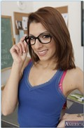 Lexi Bloom bangs her teacher on the desk after class