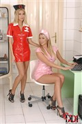 Lexi Lowe and Samantha toy with tied up patient Clara from DDF Prod