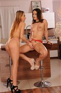 Leyla Black and Madlin pleasure each other with dildos