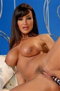 Lisa Ann masturbates with a dildo in her blue bra Picture 14