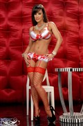 Lisa Ann looks sexy in a red and white Christmas outfit from Brand Danger