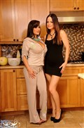 Lisa Ann strips off Janessas lingerie in the kitchen from Brand Danger