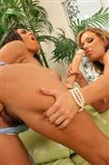 Megan Jones and Nikki Sexx share a long flesh colored dildo