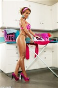 Nicole Aniston looks hot doing laundry in pink lingerie Picture 02