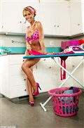 Nicole Aniston looks hot doing laundry in pink lingerie Picture 08