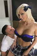 Raven Bay and Rikki Six enjoy a threesome in a classroom Picture 12
