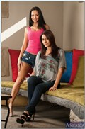 Raylene and Ava Addams share a hard dick on the bed from Naughty America