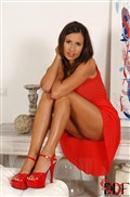 Sensual Jane strips off her red dress and licks stilettos from DDF Prod