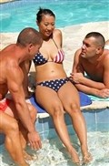 Sharon Lee gets double penetrated outside by the pool