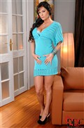 Sheila Grant plays with a vibrator in a sexy blue dress from DDF Prod