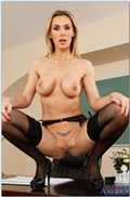 Tanya Tate screws her student on the desk in black stockings from Naughty America