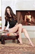 Tiffany Thompson strips off her lacy lingerie by the fire from Babes